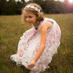 Häkelkleid mit 3D Tüllspitze, Blumenmädchenkleid, Blumenmädchen, Brautkleid, Kommunionkleid, Hochzeitskleid, Crochetdress, Luxus