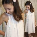Baumwoll Tunikakleid, Festkleid für Kommunion, Taufe und Hochzeit, Kommunionkleid, Kommunionbekleidung, Crochetdress, Häkelkleid