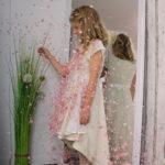 Zauberhaftes Seidenkleid mit Tellerrock.